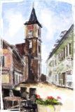 Illustration of city Street. Stock Image