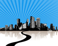 Illustration with city. vector Stock Image