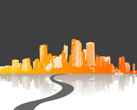 Illustration with city. vector Royalty Free Stock Photography