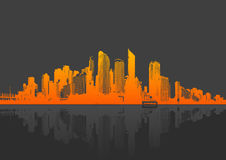 Illustration with city. vector Stock Photography