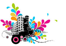 Illustration with city. Vector Royalty Free Stock Images
