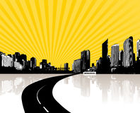 Illustration with city. vector Royalty Free Stock Image