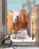 Illustration of city view from the window royalty free illustration
