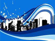 Illustration, cityscape and blue waves Stock Photo