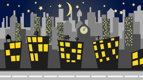 Illustration of a cityscape at night Royalty Free Stock Image