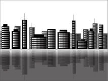 Illustration of a cityscape scene. In black and white Royalty Free Stock Photos