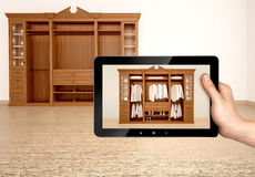 Illustration of Classic wooden wardrobe concept Stock Images