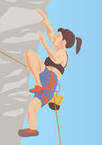 Illustration of climber on the rock Stock Photo