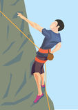 Illustration of climber on the rock Royalty Free Stock Photography