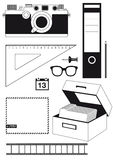 Camera and office supplies. An illustration or clip art of camera and common office supplies and utensils stock illustration