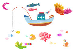 Illustration / Clip Art Set: Marine Life. Royalty Free Stock Image