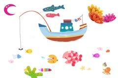 Illustration / Clip Art Set: Marine Life. Royalty Free Stock Image