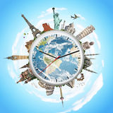 Illustration of a clock with famous monuments Royalty Free Stock Photo