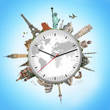 Illustration of a clock with famous monuments Stock Photo