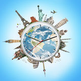 Illustration of a clock with famous monuments Stock Photography