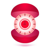 Illustration clock gift box. Illustration clock with gift box Stock Image