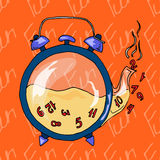 Illustration clock in the shape of a teapot. Tea with numbers. Postcard which reminds about the holidays. Seamless pattern. Illustration clock in the shape of a Royalty Free Stock Images
