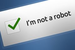 Close-up of Internet CAPTCH / Robot Human Verification Checkbox Code Stock Photo