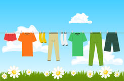 Illustration of clothes drying outdoor Royalty Free Stock Photos