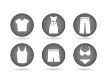 Clothing Icons Grey. Illustration of clothing icon buttons  on a white background Stock Images