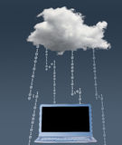 Illustration of cloud computing security challenges. Concept image for cloud computing and online applications with a dark cloud and lightning showing problems royalty free stock image