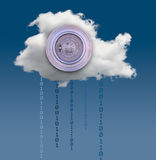 Illustration of cloud computing security challenges. Concept image for cloud computing and online applications with a Federal Reserve bank vault showing security royalty free stock photography