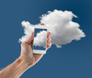 Illustration of cloud computing web services with smartphone Stock Images