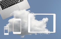 Illustration of cloud computing web services with smartphone Royalty Free Stock Photography
