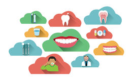 Illustration of cloud dental icons set Royalty Free Stock Photography