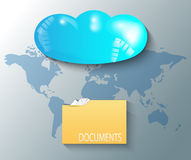 Illustration of cloud with world map and files Stock Image