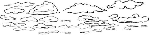 Illustration of clouds. Graphic illustration of cloudy sky stock illustration