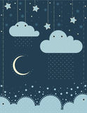 The illustration. Clouds , sea, moon, stars ,sky, rain. Can be used in the design of children's room or album art or greetings Royalty Free Stock Photo