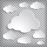 Illustration of clouds set on a chequered background Stock Image