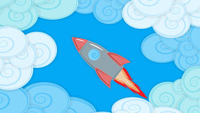 Illustration with a cloudy sky and a space ship ,material design. Abstract background image with clouds and flying missile , material design Royalty Free Illustration