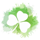 Illustration of clover with green watercolor splashes Royalty Free Stock Images