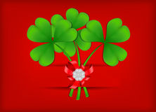 Illustration with clover leafs and bow Royalty Free Stock Photo