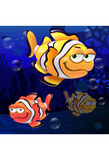 Illustration of clown fish swimming underwater. Colorful clownfish in beautiful sea Stock Photos