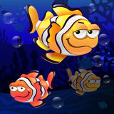 Illustration of clownfish under the sea. Illustration of colorful clownfish in the water Stock Photo