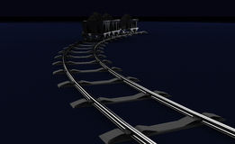 Illustration of a Coal trolleys on dark Stock Photo