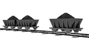 Illustration of a Coal trolleys - Isolated on white Stock Image