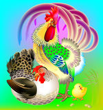 Illustration of cock, hen and little chicken. Royalty Free Stock Photography
