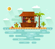 Illustration of cocktail bar with barman on tropical beach Royalty Free Stock Photo