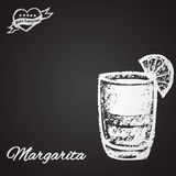 Illustration cocktail chalk: Margarita. Best cocktail theme. Royalty Free Stock Photo