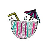 Illustration of a cocktail in a coco with a hand-drawn lettering. Illustration of a cocktail in a coco with a unique hand-drawn lettering inside. Aloha royalty free illustration