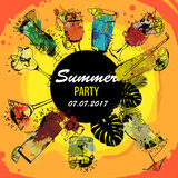 Illustration of Cocktail party poster designer. Template for bar menu. Alcohol, Summer drinks. Spray, spot watercolor. Vector illustration of Cocktail party Royalty Free Stock Photos