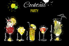 Illustration of Cocktail Party set . Template for cocktail menu. Alcohol, Summer drinks. Spray, spot and melted drips. Vector illustration of Cocktail Party set Royalty Free Stock Image
