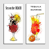 Illustration of cocktails menu drawing Tequila sunrise and sex on the beach with orange. Watercolor cocktail banners Stock Photo