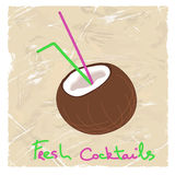 Illustration with coconut and straw Royalty Free Stock Photos
