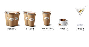 Illustration - Coffe cups and Martini. Days of the week vector illustration