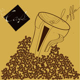 Illustration with coffee beans Royalty Free Stock Image